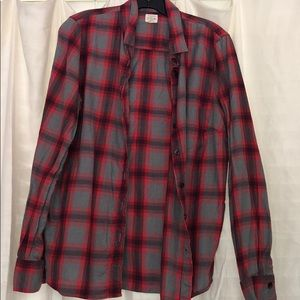 J.Crew Factory Grey and Red Plaid Flannel Shirt L